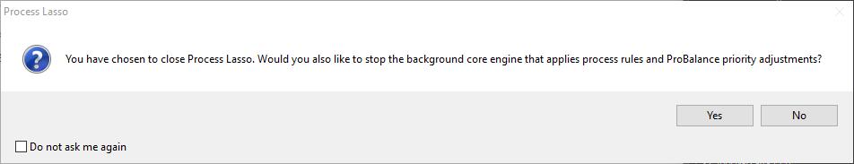 Process Lasso Core Engine Shutdown Query