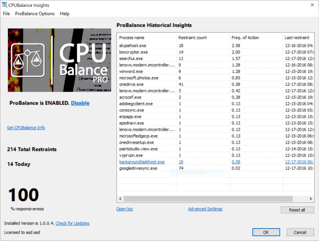 CPUBalance Insights Screenshot