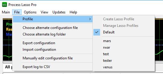 Process Lasso Configuration Profile Screenshot