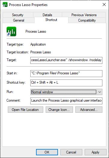 Process Lasso Keyboard Shortcut