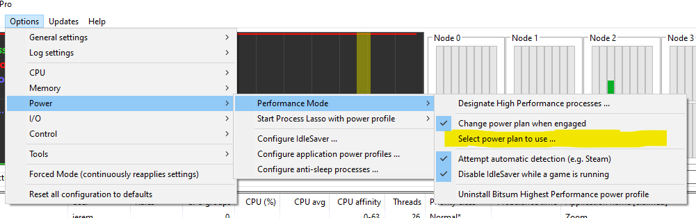 Select alternate power plan for Performance Mode