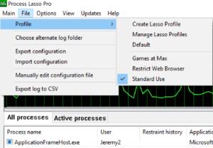 Process Lasso Profiles Sscreenshot