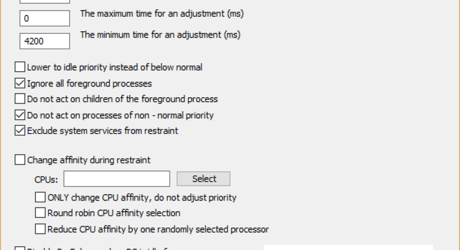 ProBalance Advanced Options Dialog Screenshot