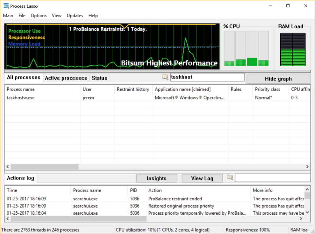 Process Lasso Filter screenshot