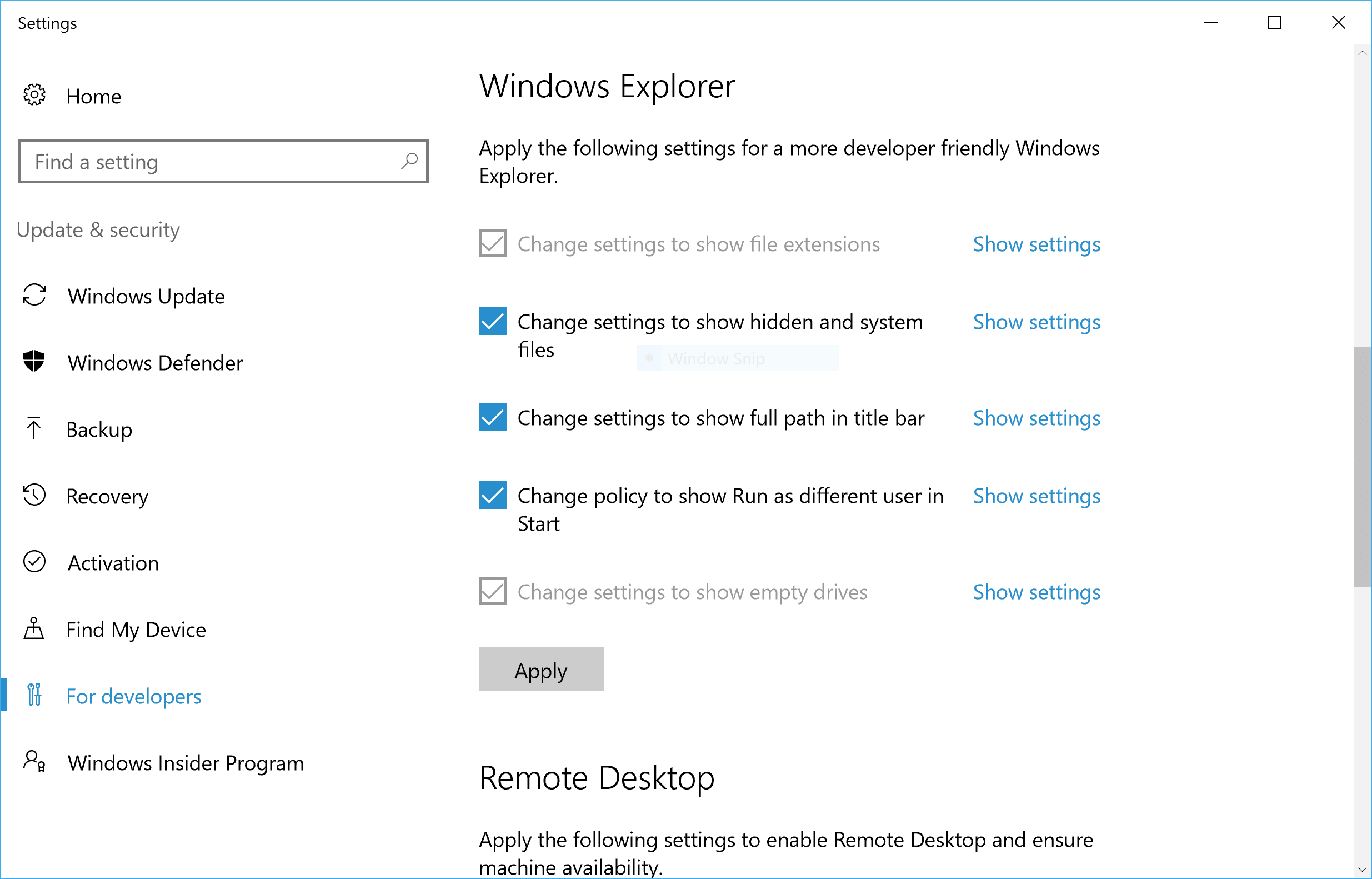 Windows 10 For Developer Settings Screenshot