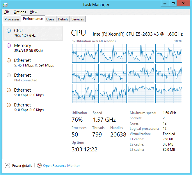 Screenshot of Task Manager Under Heavy CPU Load