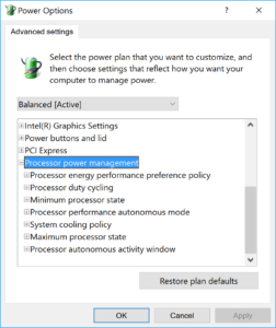 Windows Power Profile CPU Options for Skylake