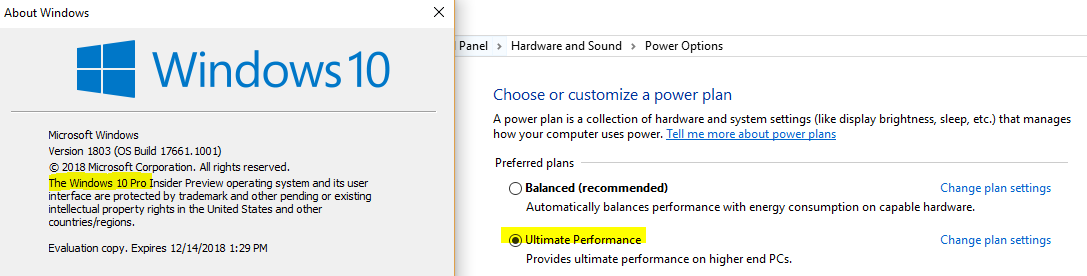 Ultimate Performance installed on Windows 10 Pro