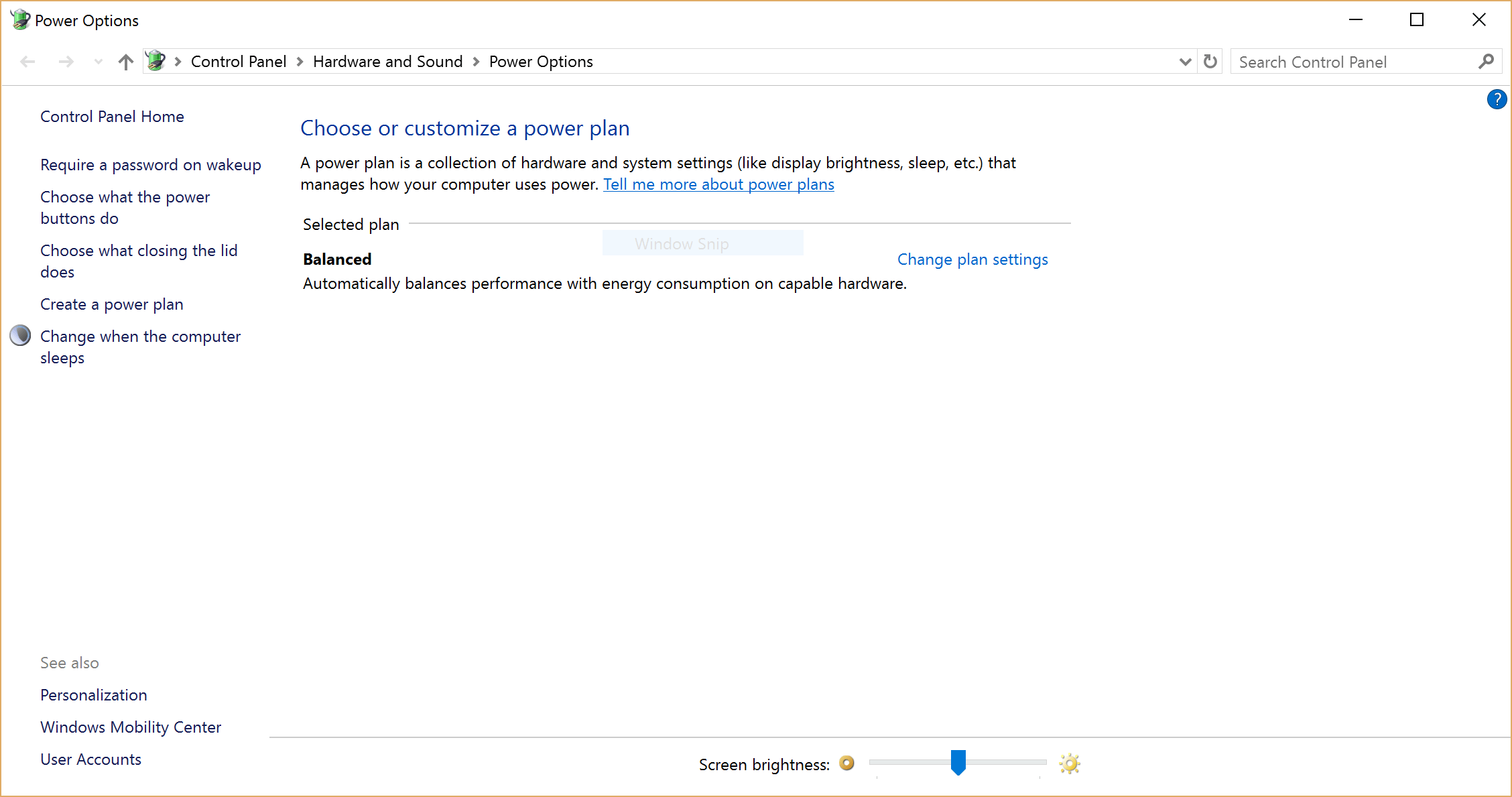 Screenshot of Windows Power Options with only Balanced on a Surface
